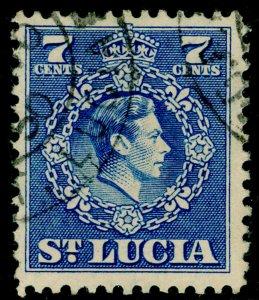 ST. LUCIA SG152, 7c ultramarine, FINE USED.