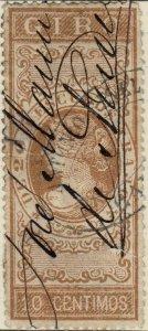 ESPAGNE / SPAIN / ESPAÑA 1867 Sello Fiscal (GIRO) 10 centimos castaño - Usado