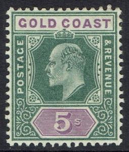 GOLD COAST 1902 KEVII 5/- WMK CROWN CA