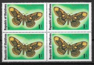 1975 Maldives 584 Brahmaea Wallichii MNH Block of 4