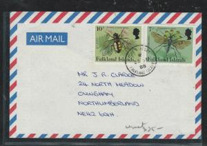 FALKLAND ISLANDS  (P2908B) QEII 7P+10P INSECTS ON A/M COVER TO ENGLAND