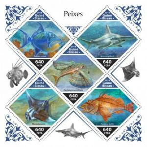 Guinea-Bissau - 2018 Fish - 5 Stamp Sheet - GB18707a