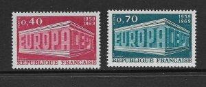 FRANCE - EUROPA 1969 - SCOTT 1245 TO 1246 - MNH