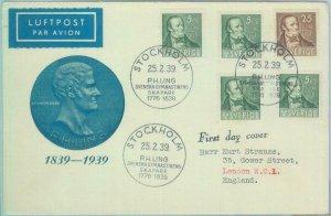 89037 -  SWEDEN - POSTAL HISTORY - CACHET  FDC COVER 1939 - PH Ling MEDICINE