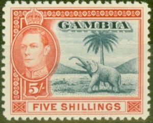 Gambia 1938 5s Blue & Vermilion SG160 V.F MNH
