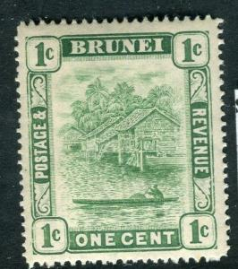 BRUNEI; 1908 early River View issue fine Mint hinged 1c. value