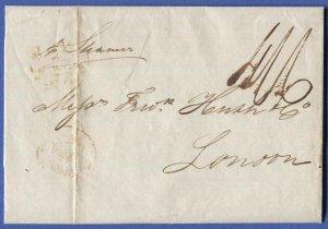 CUBA  1844 lettersheet British P.O. HAVANA to London, 4sh 6d postage due
