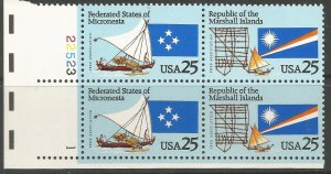 US  2507A  MNH,  PLATE BLOCK,  FEDERATED STATES OF MICRONESIA