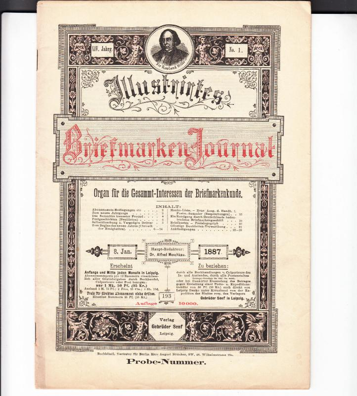 Germany - Briefmarken Journal 8 January 1887 #1 (Leipzig)