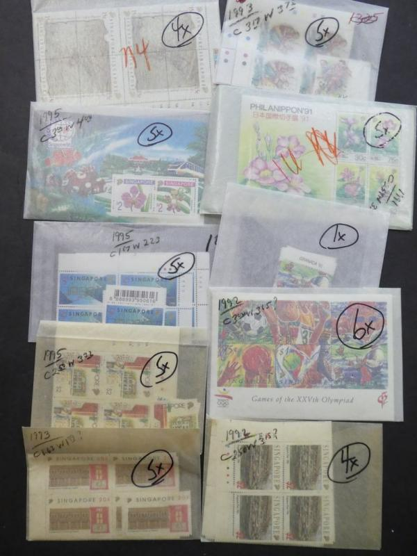 EDW1949SELL : SINGAPORE Beautiful accumulation of all VF MNH sets, S/S Cat $3685