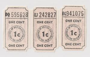 CANADA: British Columbia Revenue Tax Tickets; 3 diff shades