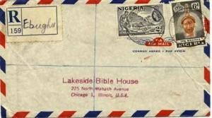 Nigeria 2d QEII Mining Tin and 6d Olokun Head 1957 Ebughu Postal Agency Regis...
