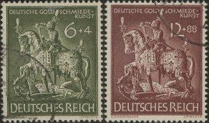 Stamp Germany Mi 860-1 Sc b247-8 1943 WWII 3rd Reich Goldsmith Knight Saint Used