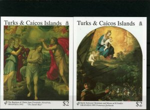 TURKS& CAICOS 1992 Sc#996-997 SPANISH PAINTINGS SET OF 2 S/S MNH