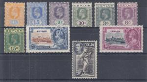 Ceylon Sc 168//283 MLH. 1903-38 issues, 10 different early singles, F-VF