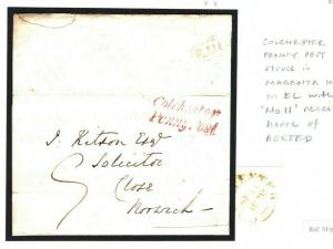 GB ESSEX Cover MAGENTA INK Colchester Penny Post *No.11* RH 1838 Boxted EL A138