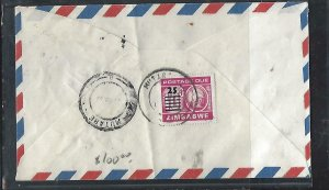 ZIMBABWE COVER (P0611B) INTERNAL COVER NO STAMP POSTAGE DUE 25/10C