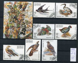 265158 Madagascar 1991 year used stamps set+S/S BIRDS