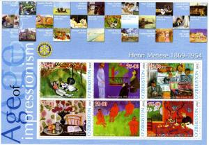Uzbekistan 2002 Henri Matisse Paintings Sheet Perforated mnh.vf