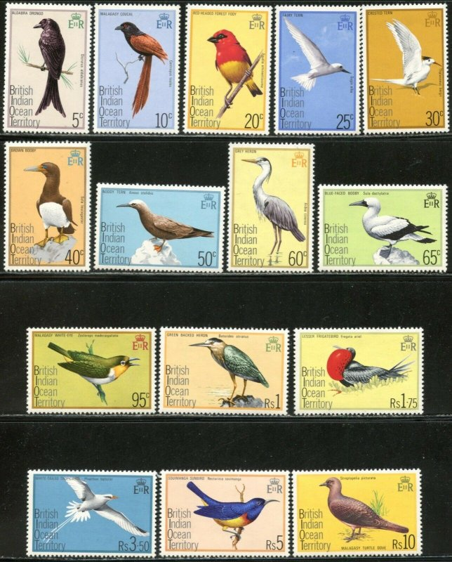 BRITISH INDIAN OCEAN TERRITORY BIOT S#63-77 1975 Birds Complete OG Mint NH