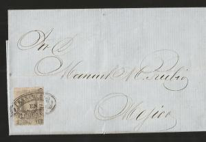 J) 1861 MEXICO, 2 REALES, CIRCULATED COVER, FROM FRANCO EN CELAYA TO MEXICO, XF