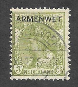 NETHERLANDS Scott #O5 Used 3c Official stamp O/P 2015 CV $1.00