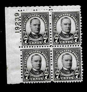 US 1927 Sc# 639  7 c  Mc Kinley  Mint NH - Vivid Color - Plate Block of 4