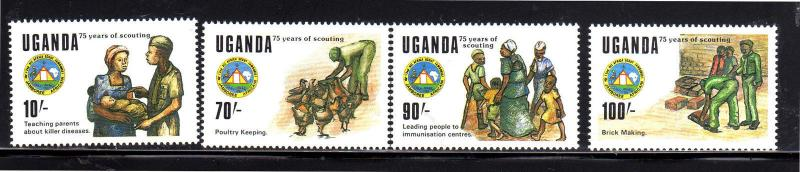 UGANDA #685-688  1989  ALL AFRICAN SCOUT JAMBOREE    MINT VF NH