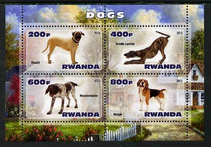 Rwanda 2013 Dogs #1 perf sheetlet containing 4 values unm...