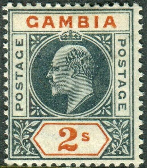 GAMBIA-1902-5 2/- Deep Slate & Orange.  A mounted mint example Sg 54