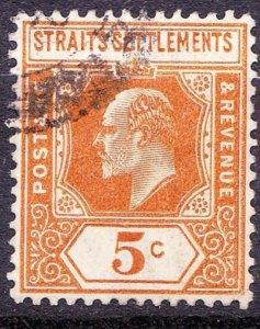 MALAYA STRAITS SETTLEMENTS 1909 KEDVII 5c Orange SG157 Used