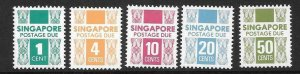 SINGAPORE SGD16/20 1978  POSTAGE DUES MNH