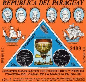 Paraguay 1974 Sc#C383 First Balloon Flight/C.Columbus/Cap.J.Cook S/S MNH