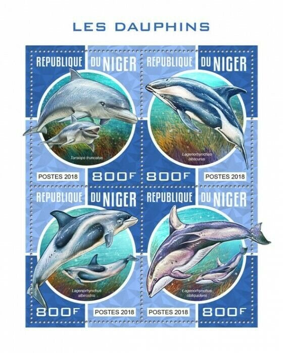 HERRICKSTAMP NEW ISSUES NIGER Dolphins Sheetlet