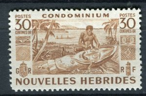 FRENCH; NEW HEBRIDES 1953 early pictorial issue fine Mint hinged 30c. value