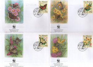 San Marino 1993 WWF Butterflies Moth Insect Wildlife Fauna Sc 1281-84 FDCs # 142