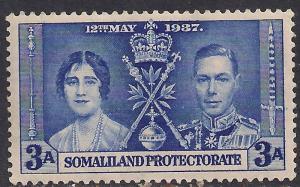 Somaliland 1937 KGV1 3a Bright Blue Coronation Umm SG 92 ( R1044 )
