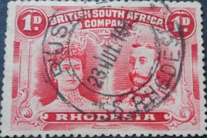 Rhodesia Double Head 1d with Rusape apostrophe after R (DC) postmark