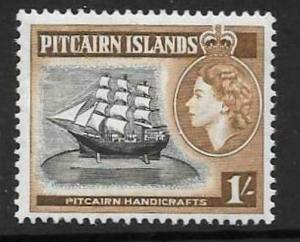 PITCAIRN ISLANDS SG26 1957 1/- BLACK & YELLOWISH BROWN  MNH