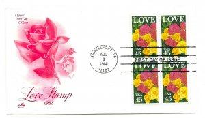 2379 45c Love 1988 ArtCraft, block of 4 FDC