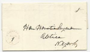 US Stampless Cover Blossburg, PA Folded Letter November 9, 1847 5