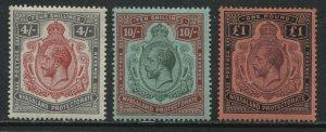 Nyasaland KGV 1913-19 4/ to £1 mint o.g. hinged