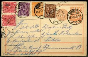 GERMANY  HANNOVER  19.1.23  POSTCARD INCREDIBLE FRANKING