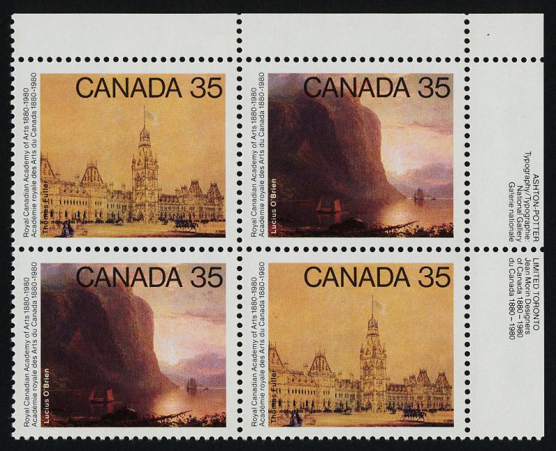 Canada 852a TR Plate Block MNH Academy of Arts