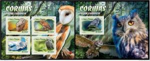 Sao Tome and Principe 2016 fauna birds of prey owls klb+s/s MNH