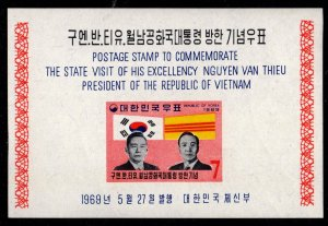 Korea - Mint Souvenir Sheet Scott #656a (Presidential Visit, Flags)