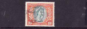 Rhodesia & Nyasaland-Sc#154-used-10sh red org & aqua QEII-19
