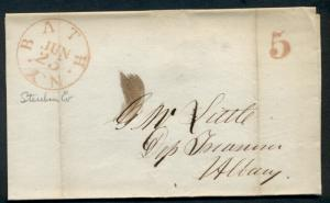 NEW YORK, BATH, 1846 stampless cover to Albany, bold red 5 & cds