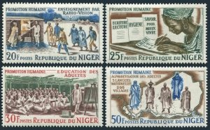 Niger 152-155,MNH.Michel 95-98. Adult education, 1965. Map, costumes.