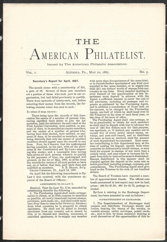 Doyle's_Stamps: APS Members' Delight- The American Philatelist, Vol. 1, No. 5